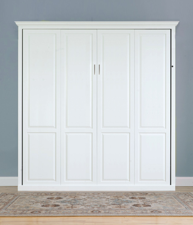 King Traditional White Murphy Bed 626 King Vertical Traditional Raised Panel Murphy Bed - Painted Maple $3510.0