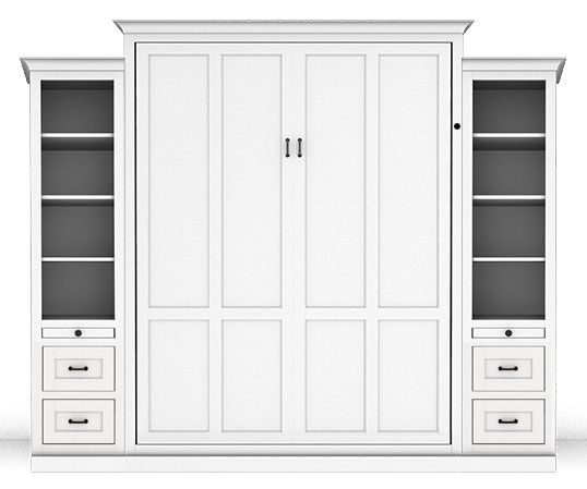 "106S 120S PM 538w lock Queen Vertical Shaker Panel Murphy Bed with two 18"" Side Cabinets- Painted Maple