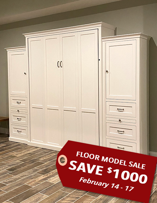 "106S 130S2 FMS 550x770 SALE tag SALE!!! Queen Vertical Shaker Panel with 24"" Side Cabinets with Bookcase Cabinet over 3 Drawers - Painted Maple