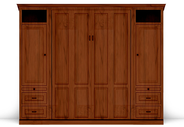 "106T 141T2 IS 626 v3 Queen Traditional Cherry with Custom 24"" Side Cabinets - Stained S14