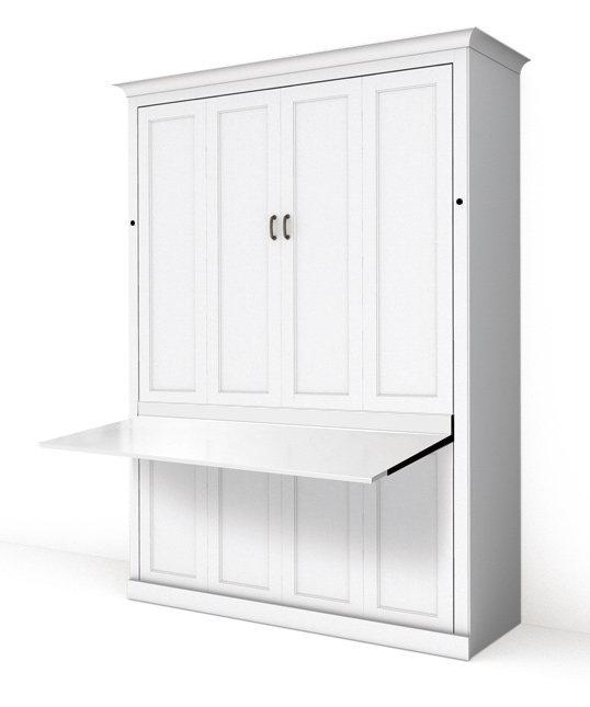 111S pm 538 Full Auto Desk with locks Queen Vertical Shaker Panel Murphy Bed - Painted Maple
