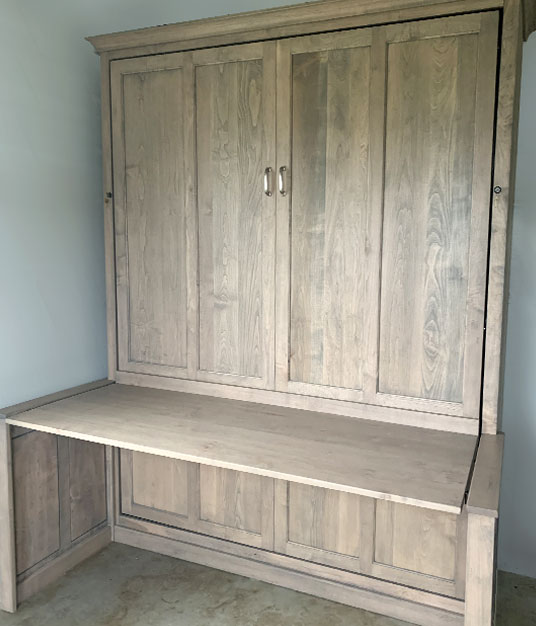 112S SM LED lg Queen Vertical Shaker Panel Murphy Bed with Auto-desk - Maple with Light Grey LED-HardWax Finish  $4315.0
