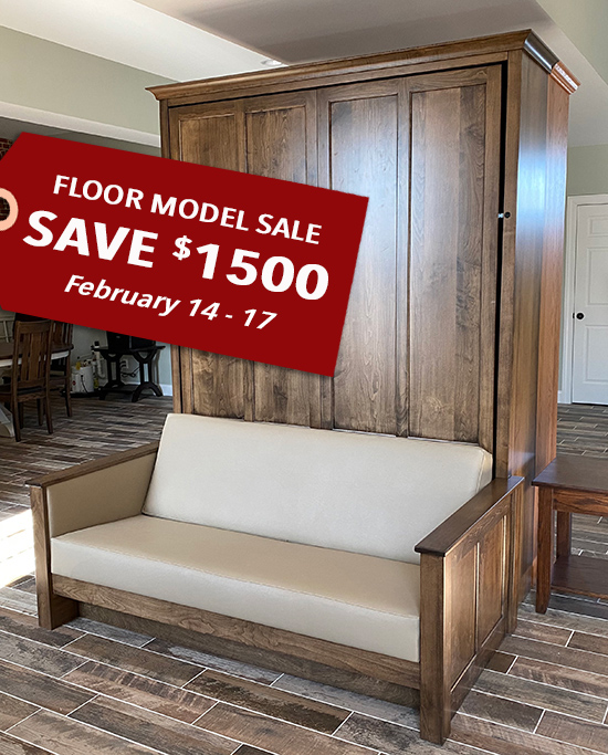 96S FMS 550 save 1500 SALE!!! Queen Shaker Panel Murphy Sofa Bed - Maple stained Cappuccino $4052 — $1500 off retail