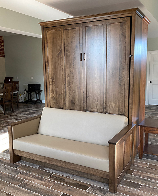 96S FMS 550 SALE!!! Queen Shaker Panel Murphy Sofa Bed - Maple stained Cappuccino $4052 — $1500 off retail