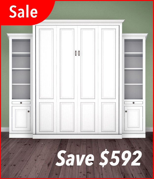 "MB106T 120T2 PM IS 626 sale Queen Vertical Traditional Raised Panel with 18"" Side Cabinets with Bookcase over Cabinet - Painted Maple