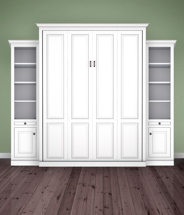 "MB106T 120T2 PM IS 626 Queen Vertical Traditional Raised Panel with 18"" Side Cabinets with Bookcase over Cabinet - Painted Maple