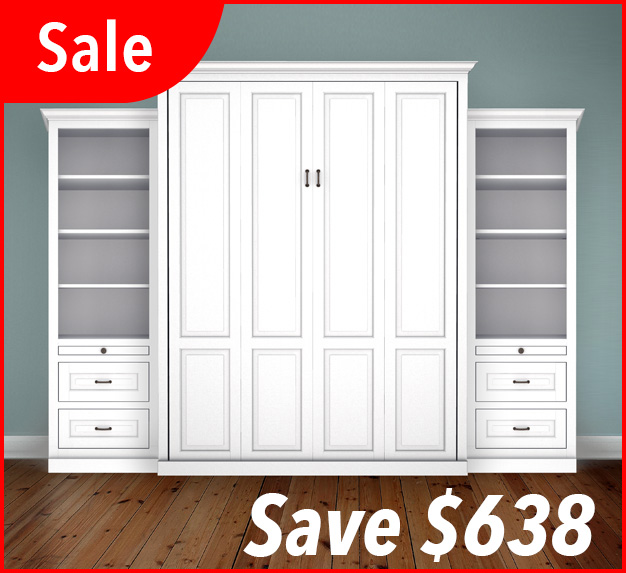 "MB106T 124T2 PM IS 626x573 sale Queen Vertical Traditional Raised Panel with 24"" Side Cabinets with Bookcase and Drawers - Painted Maple 