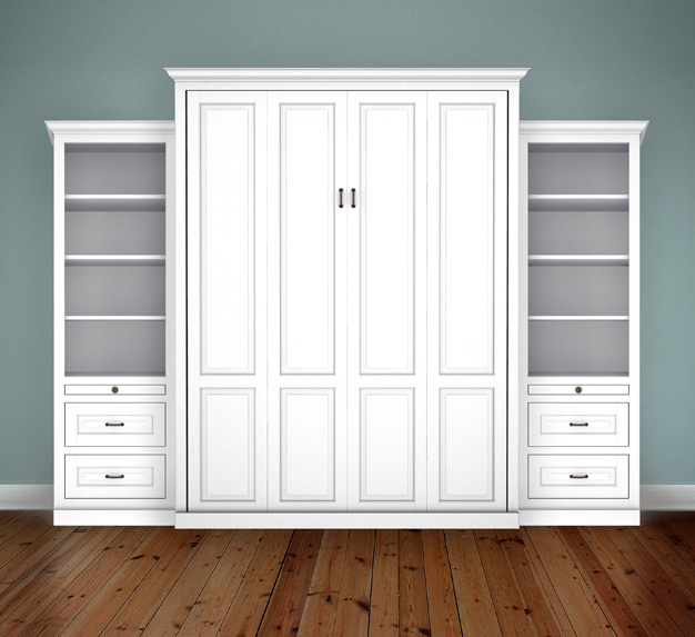 "MB106T 124T2 PM IS 626x573 Queen Vertical Traditional Raised Panel with 24"" Side Cabinets with Bookcase and Drawers - Painted Maple 