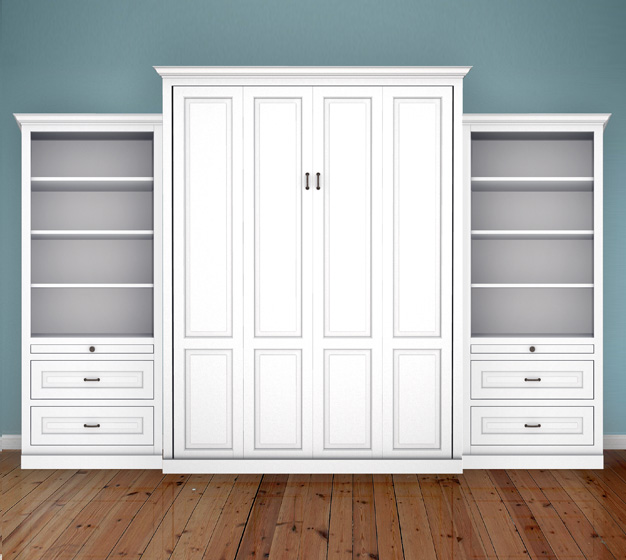 "MB106T 125T2 PM IS 626x560 Queen Vertical Traditional Raised Panel with 32"" Side Cabinets with Bookcase and Drawers - Painted Maple 