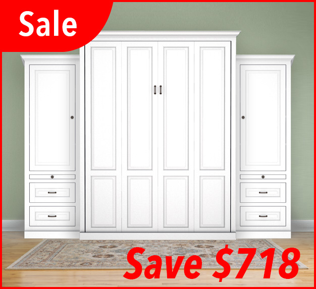 "MB106T 127T2 PM IS 626x573 sale Queen Vertical Traditional Raised Panel with 24"" Side Cabinets with Bookcase Cabinet over 2 Drawers - Painted Maple