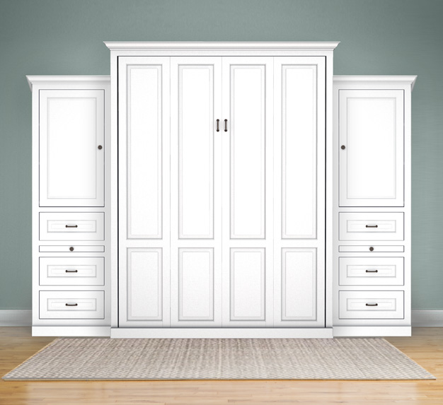 "MB106T 130T2 PM IS 626x573 Queen Vertical Traditional Raised Panel with 24"" Side Cabinets with Bookcase Cabinet over 3 Drawers - Painted Maple