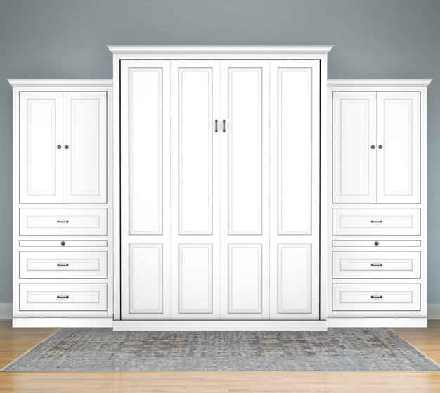 "MB106T 131T2 PM IS 626x560 Queen Vertical Traditional Raised Panel with 32"" Side Cabinets with Bookcase Cabinet over 3 Drawers - Painted Maple