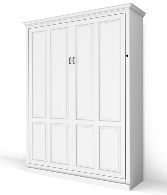 MB106T PM IS 538x626 lock miter white Queen Vertical Traditional Raised Panel Murphy Bed - Painted Maple