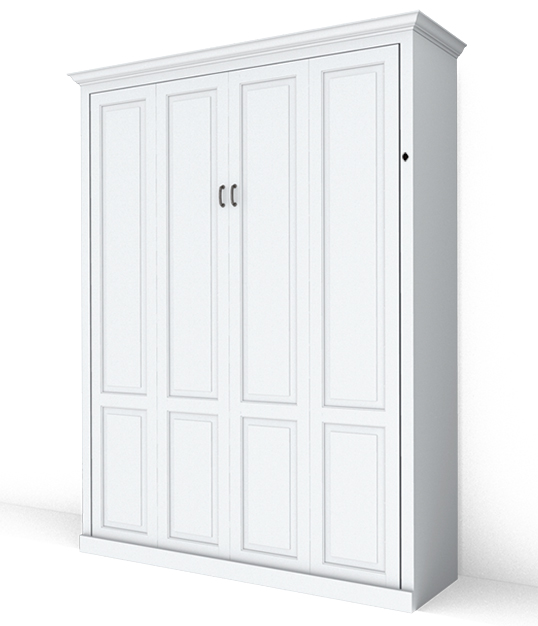 MB106T PM IS 538x626 lock Queen Vertical Traditional Raised Panel Murphy Bed - Painted Maple