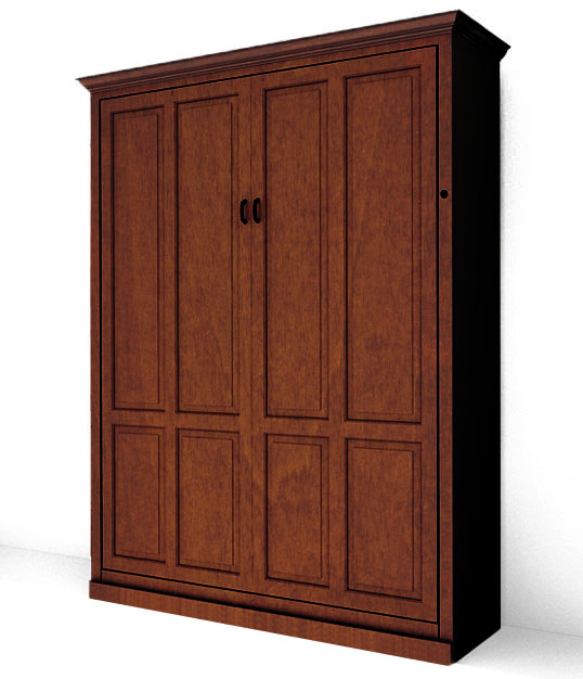 MB106T SM IS 538x626 lock miter mission maple Queen Vertical Traditional Raised Panel Murphy Bed - Stained Maple $3052.0
