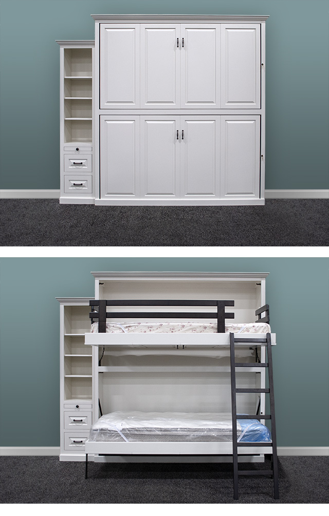 Murphy Bunk Beds vertical combo Murphy Bunk Beds - Double the space saving!