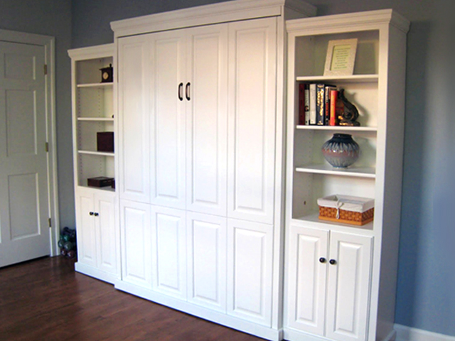 Painted_Maple_Full_Traditional_Murphy_bed_custom22in_side_cabinets 640X480 Add side cabinetry  to match your Murphy Bed