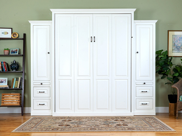 Queen Shaker Murphy Bed with sides 480x640v3 Add a bedroom to any room in your house.