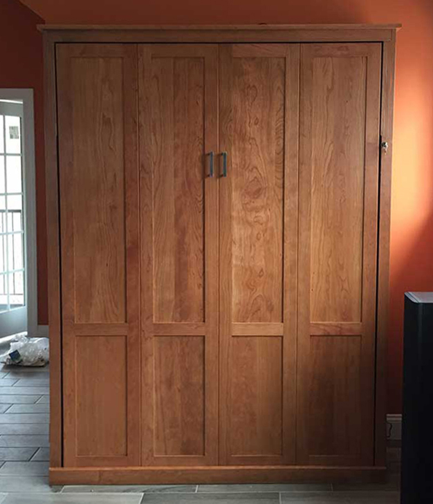 Queen Vertcal Mission Murphy Bed in stock3 Queen Vertical Mission - Natural Stained Cherry