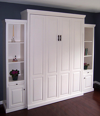 Queen Vertcal Traditional Raised Panel Murphy Bed Set with 18in sides in stock 350 Queen Vertical Traditional Raised Panel with 18 inch Side Cabinets - Painted Maple $4613.0