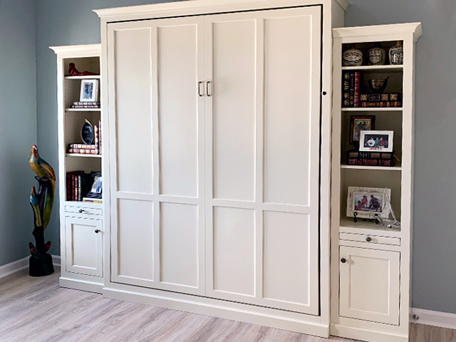 Queen shaker Murphy Bed with 18in side cabinets2 640x480 Add side cabinetry  to match your Murphy Bed